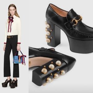 Gucci Black Vegas Pearl Studded Platform Loafer
